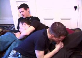 Horny Young Trio Sucking Dick