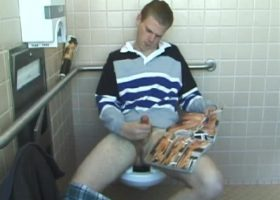 Christian Strokes Cock In Toilet