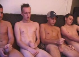 Five Horny Boys Beating Off