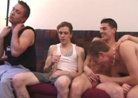 Four Young Guys Sucking Dick